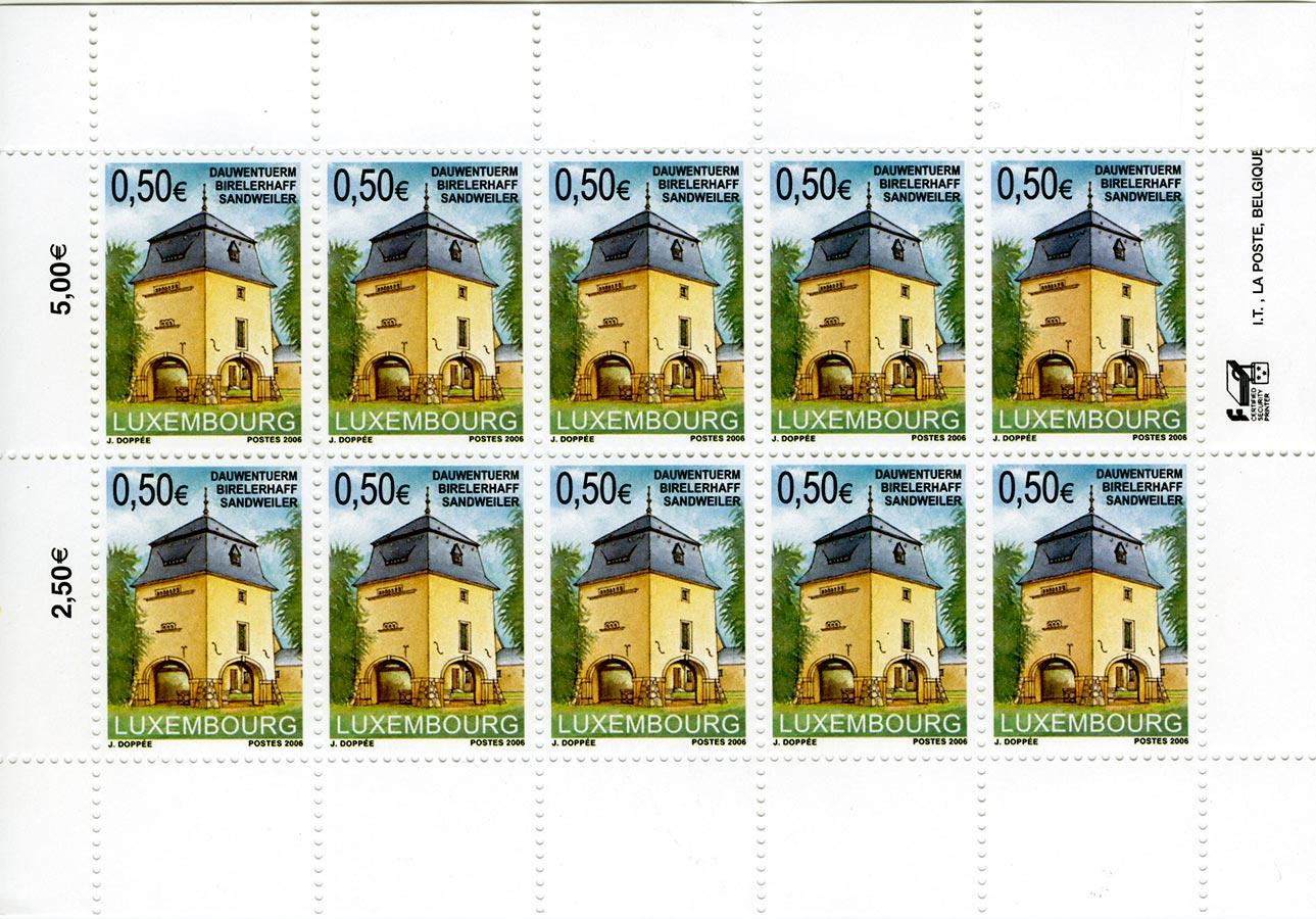 """Timbre de la POST Luxembourg / Briefmarke der POST Luxembourg """"Dauwenturm Birelerhaff Sandweiler"""", Dessin / Zeichnung © Jacques Doppée, Brüssel (B), 2006"""