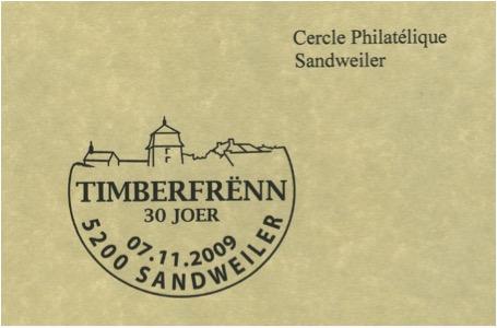 Le Birelerhof comme logo de l'association 'Timberfrënn Sandweiler' / Der Birelerhof als Vereinszeichen der 'Timberfrënn Sandweiler', © et collection Carlo Watgen, Sandweiler, 2009