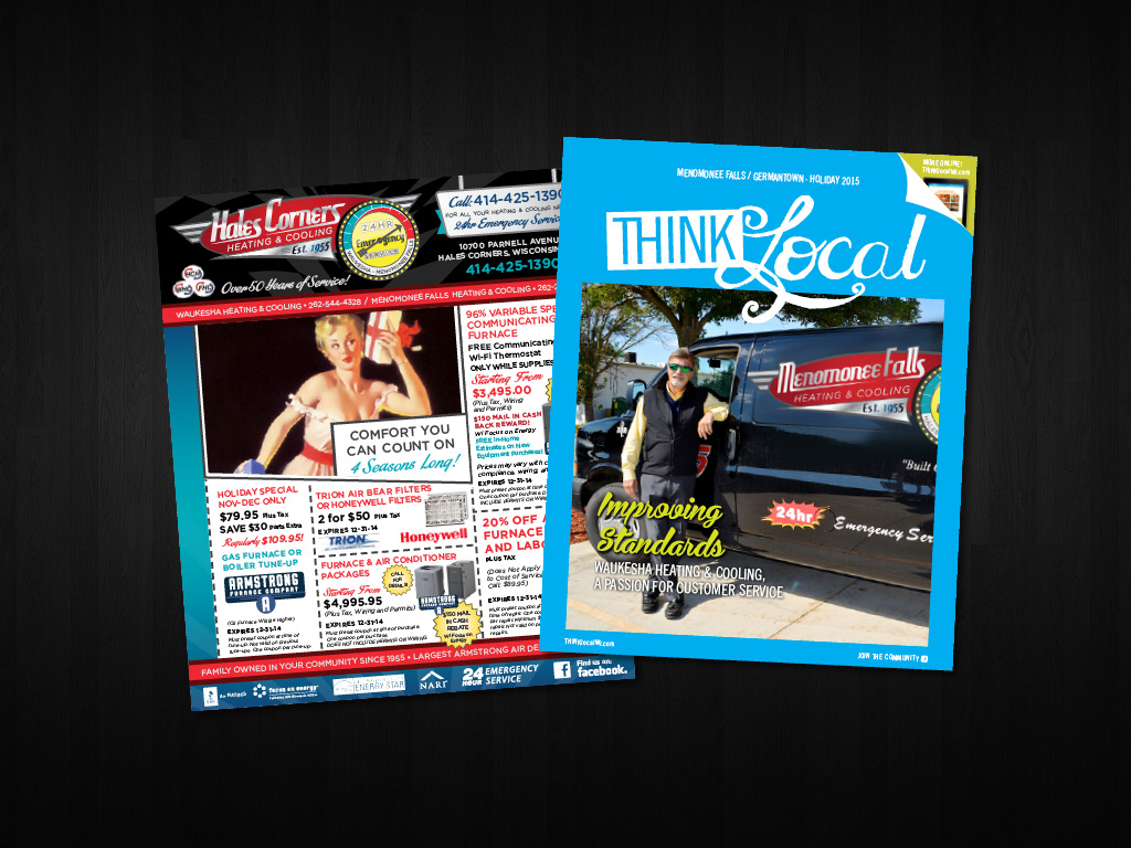 Advertising,  THINKlocal  Magazine Cover Photography, Vehicle Graphics, Branding, and Art Direction