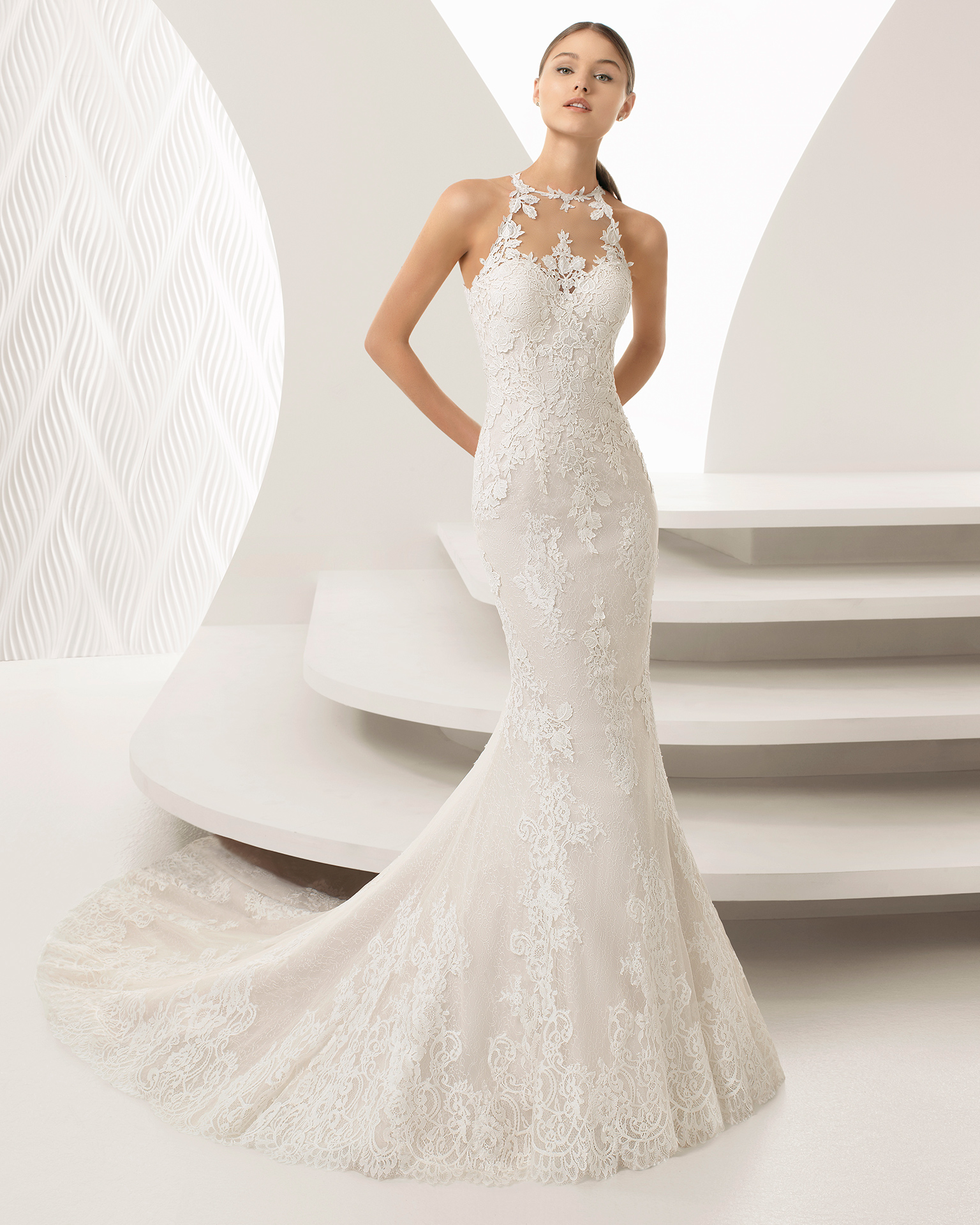 Rosa Clara Abira - a sophisticated and elegant guipure and lace with halter neckline.