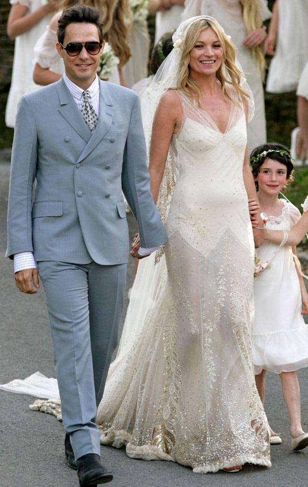 kate moss and her chapel-length cap veil. photo: one fab day