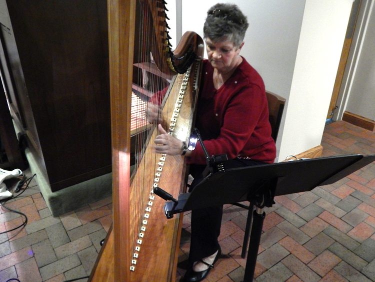Kathy Rapp playing her celtic harp.