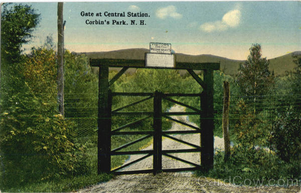 Undated early postcard showing the gate to Central Station in Corbin's Park   Courtesy of Brian Meyette