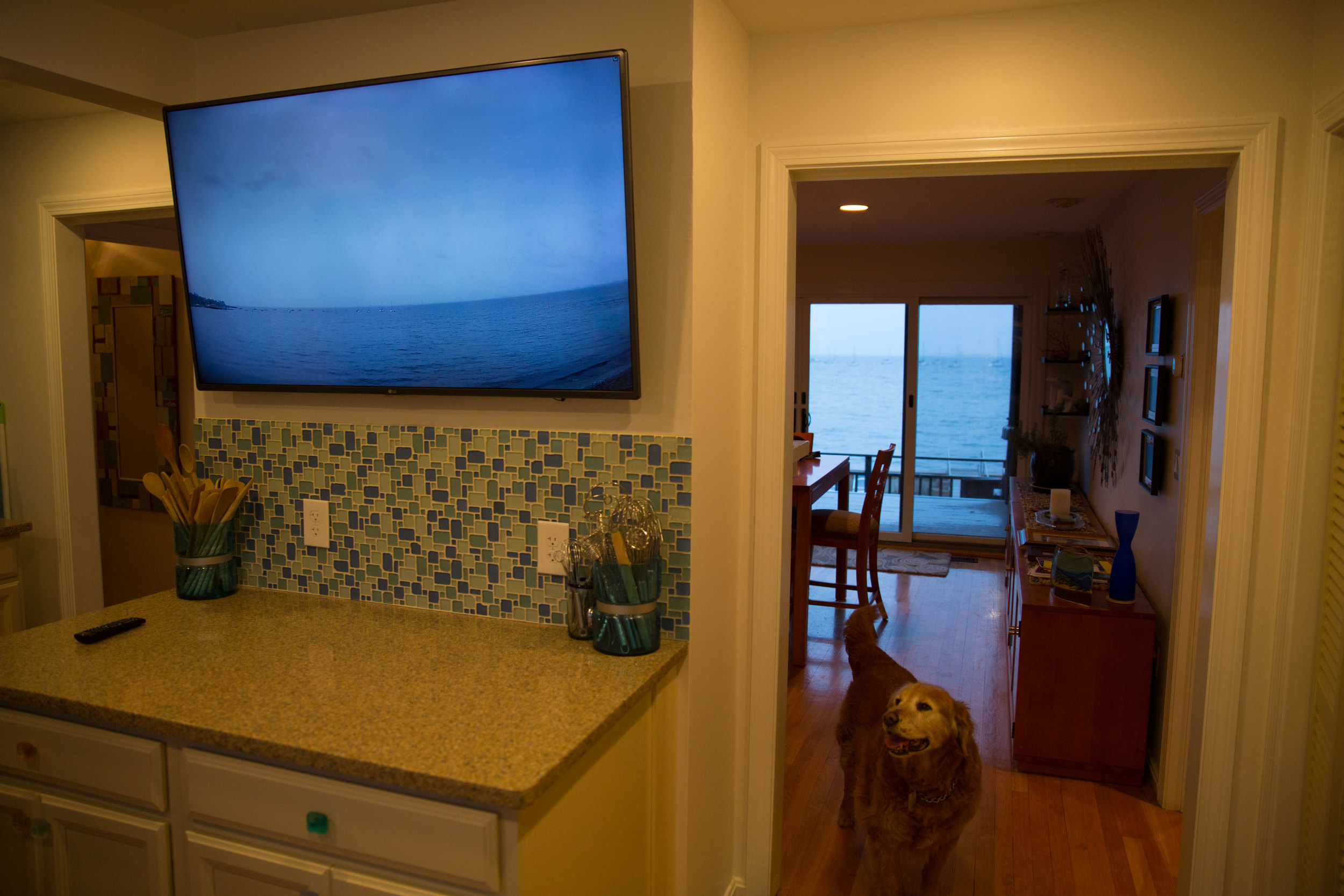 Carangelo at one point had hoped to remove this wall in his kitchen to open up the ocean views, but when that proved to complicated he settled for this HD-TV and security camera set-up.