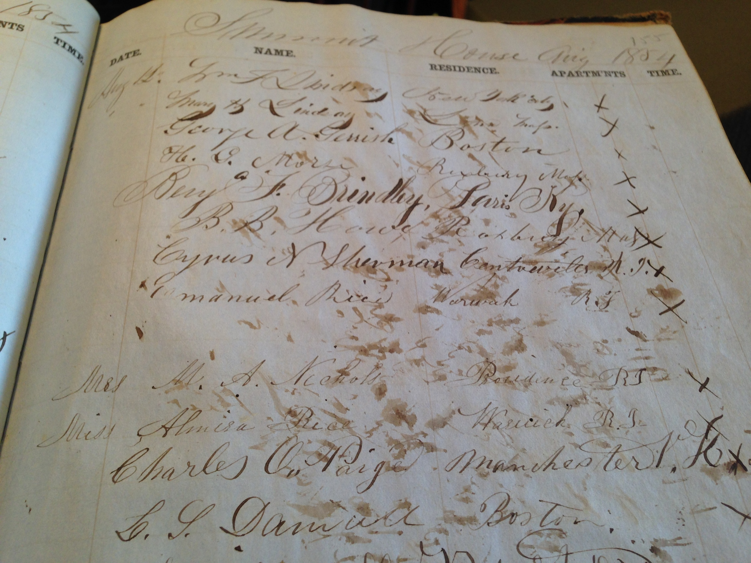 These photos are of the 1854 Mt. Washington Summit House Guest Registry, which is housed at the New Hampshire Historical Society in Concord, NH.
