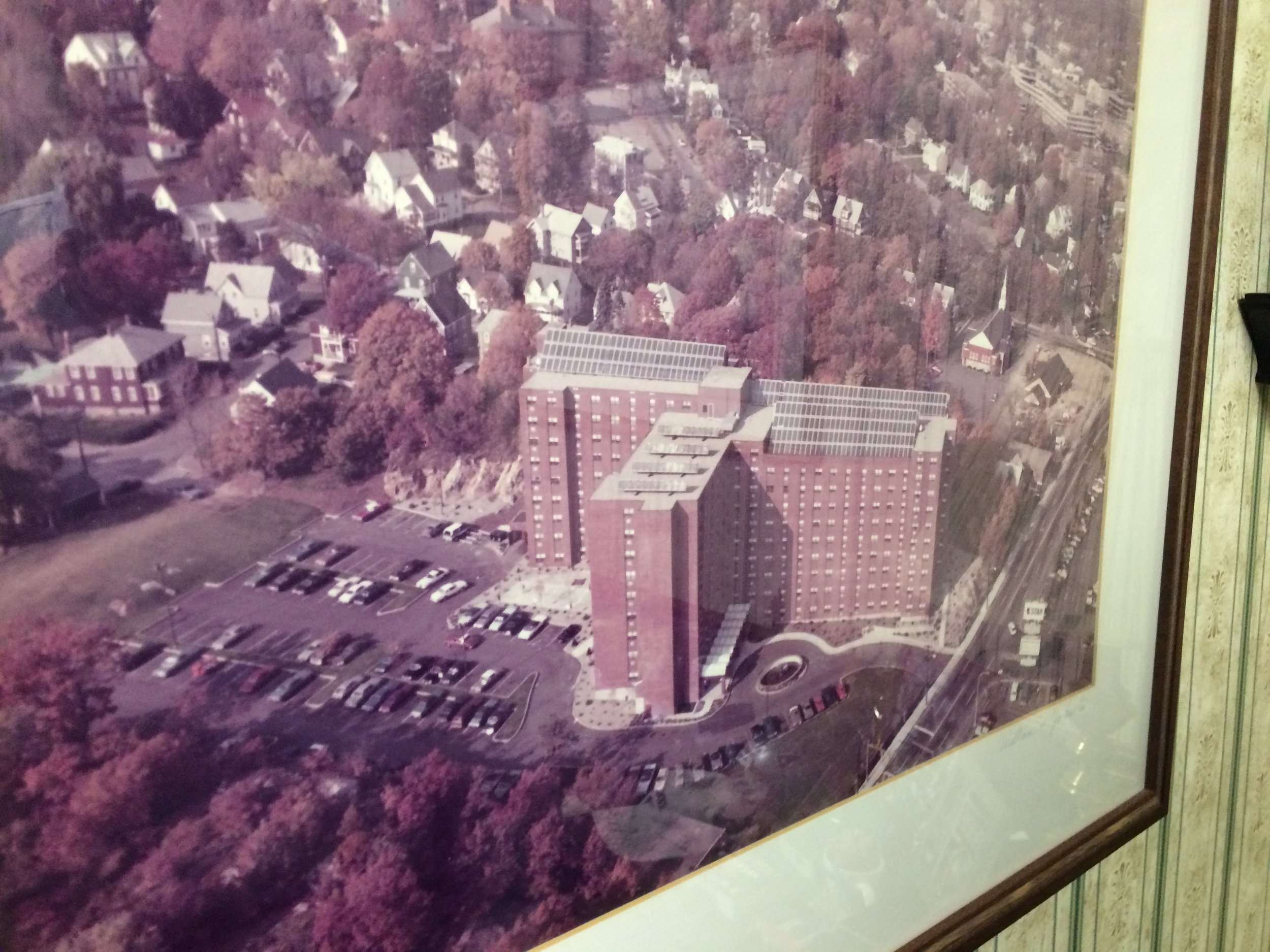 aN EARLY PHOTO OF THE BUILDING, SOLAR PANELS STILL INTACT.
