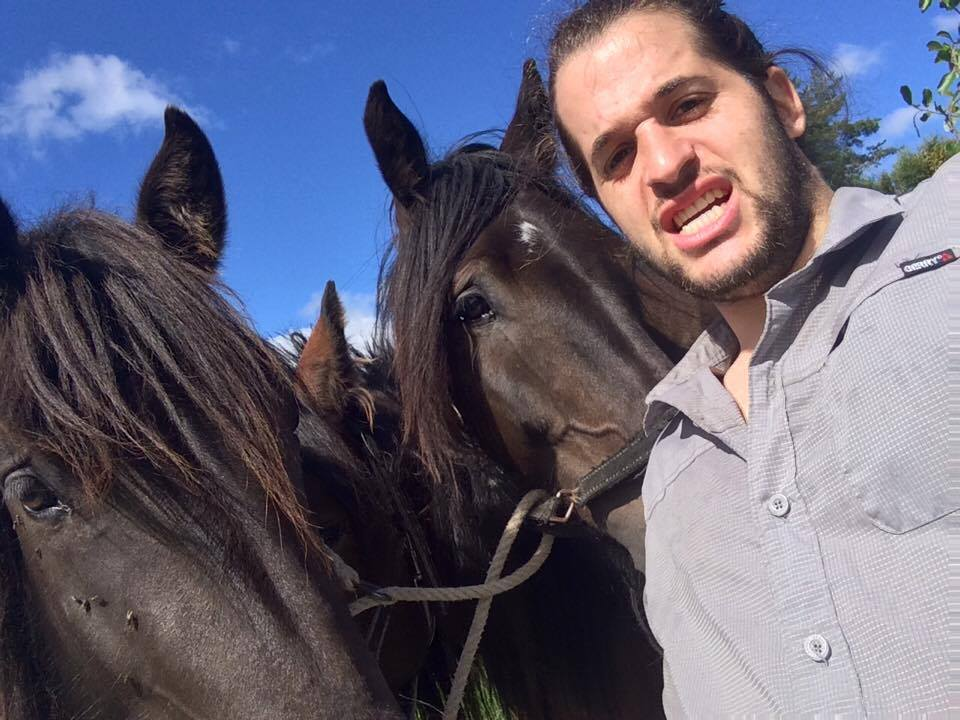 Jacob with some horse friends.