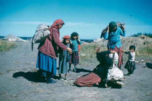 Cree women prepare for a journey, 1960s. Credit: Reverend Don Ruggles, courtesy Chisasibi Heritage & Cultural Centre
