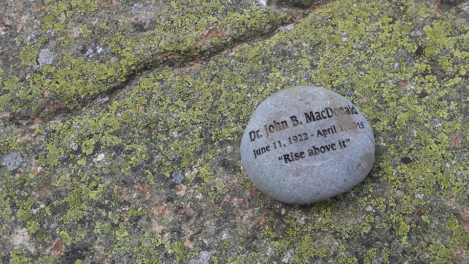 Photo courtesy of David Baril: Kelsey's second memorial stone. This is the photograph that sparked a Facebook flame war on the The 4,000 Footer Club's group page.
