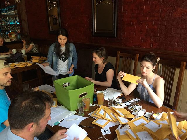 """Mailing out fund drive thank you gifts with our @civics101pod pals. """"Is this posed? Is this candid? What's happening, Sam?"""""""