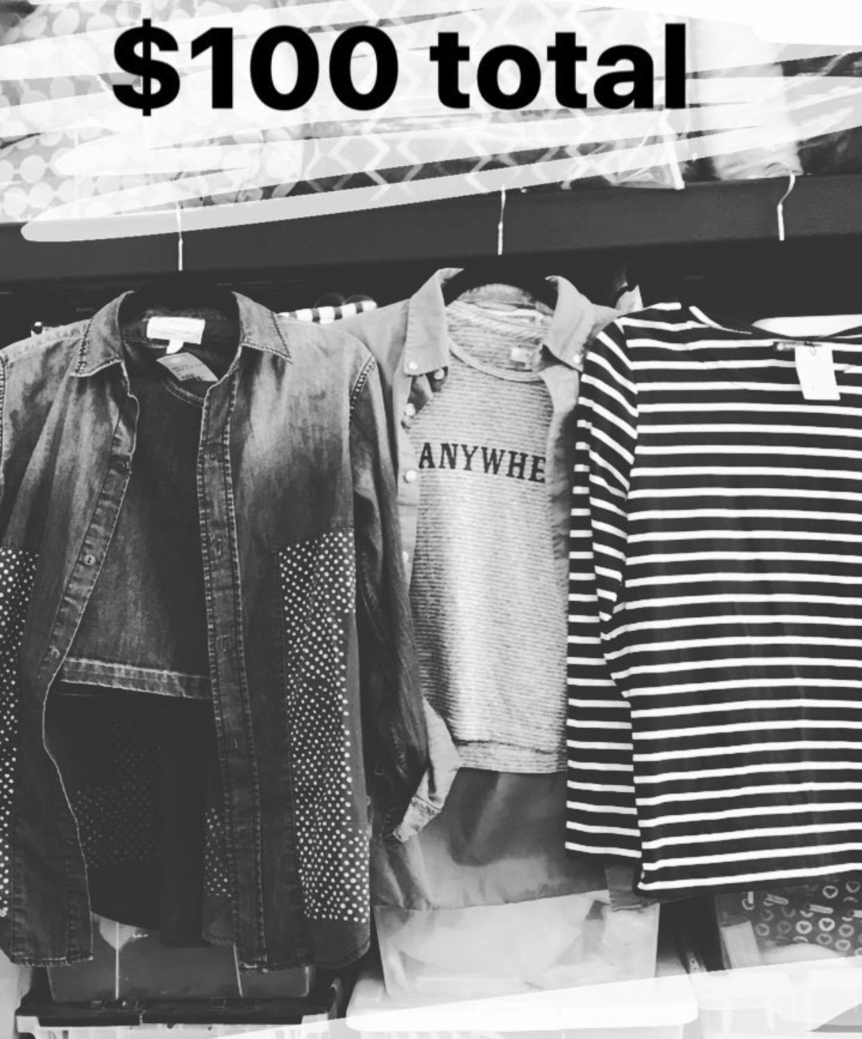 My thrift shopping haul: Marine Layer skirt, Current/Elliot denim shirt, SuperDry khaki shirt, Madewell tee, and Bateau Petit tee