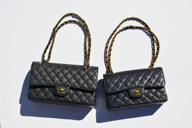 Black Medium Caviar Chanel Flap Bag from 2013 next to a Navy Small Caviar Flab Bag from 1999