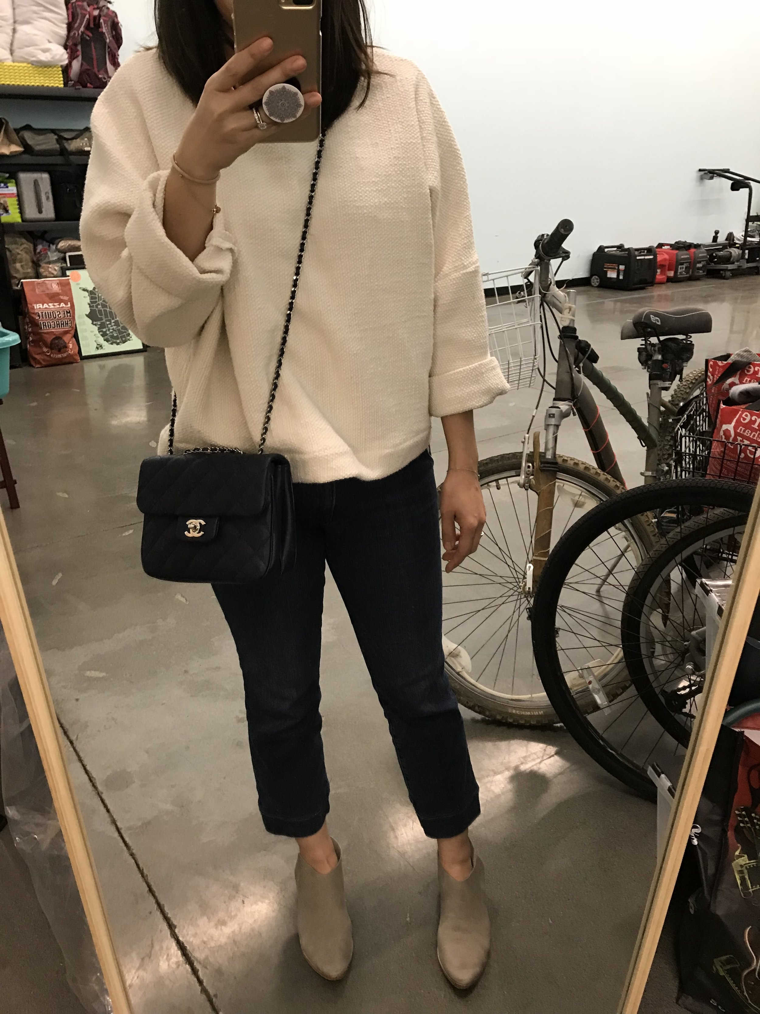 Current wardrobe: Jamie + the Jones heavy knit sweater (review coming soon), Frame denim trousers ( similar here ), Sevilla Smith booties ( reviewed here ), Chanel crossbody bag ( similar here )