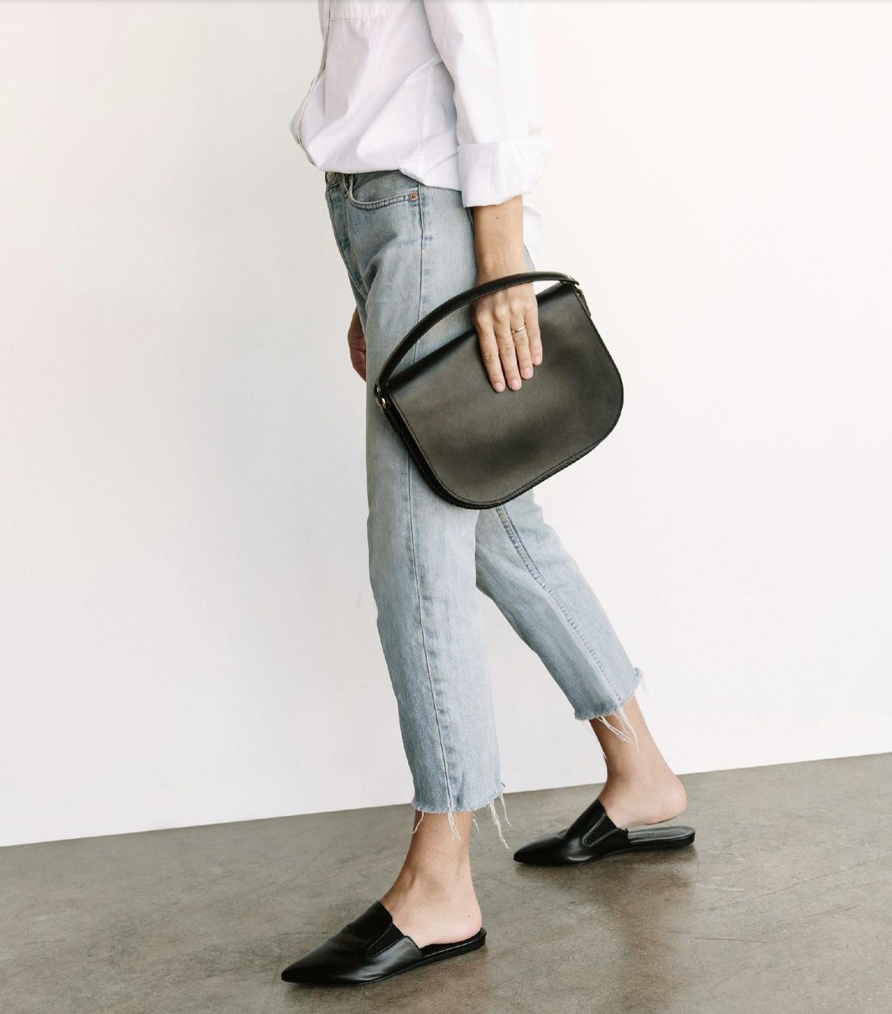 Jenni Kayne mules left, Martiniano shoes right