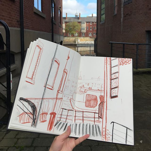My observational drawing in York today was focusing on the City Cruise boats. I found a great spying spot from Skeldergate. Im enjoying drawing from life especially when I think that I am a secret spy! My theme for this project for my Masters is viewpoints from tourist attractions.