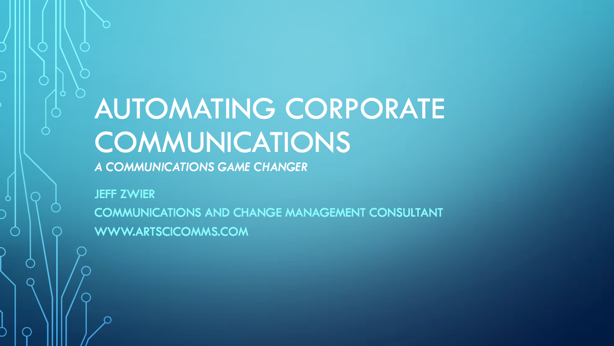 Click the slide above to join our mailing list and get a free overview presentation on Automating Corporate Communications.