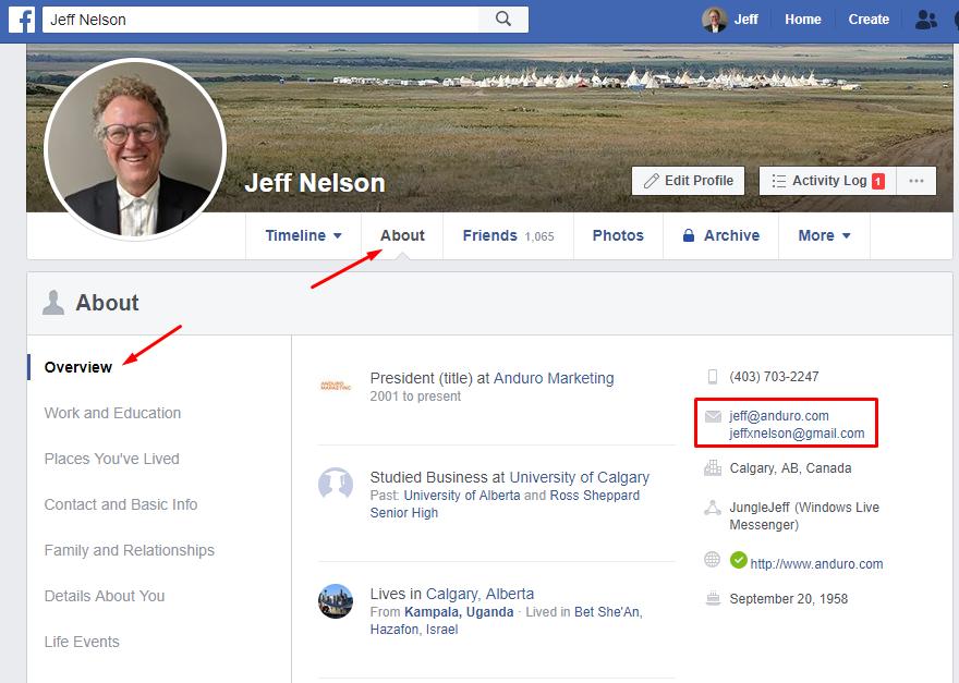 Facebook profile Facebook How