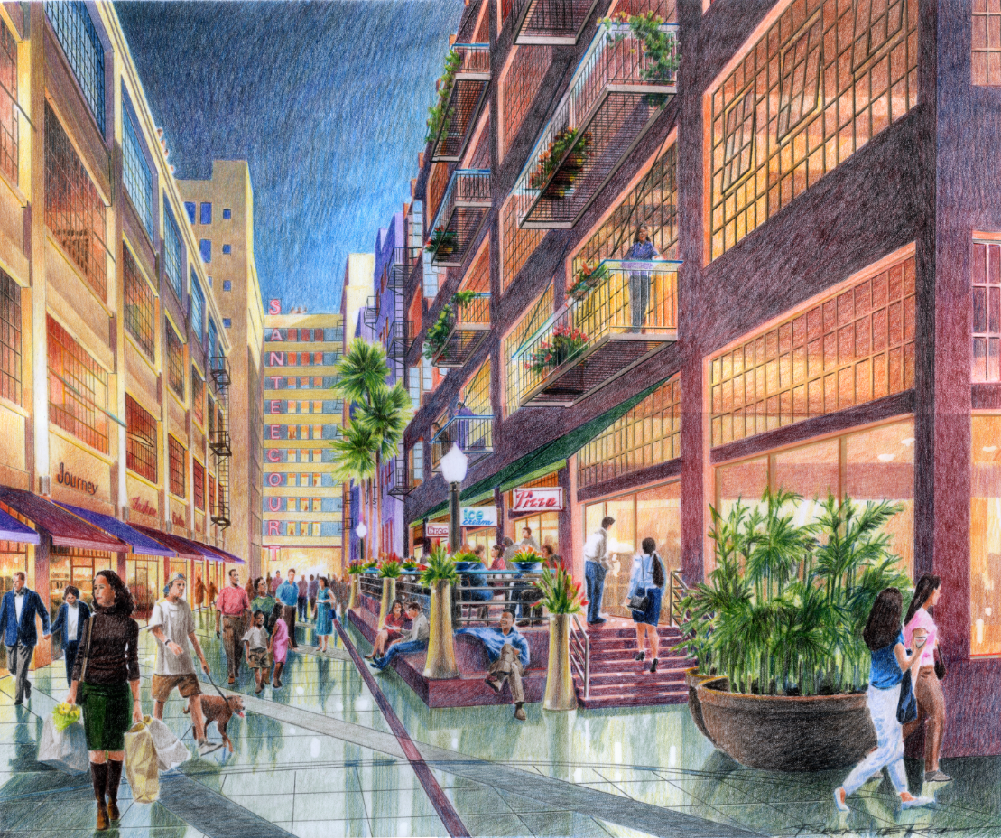 Rendering of Santee Court, one of Los Angeles' largest adaptive reuse projects completed by MJW in 2004.