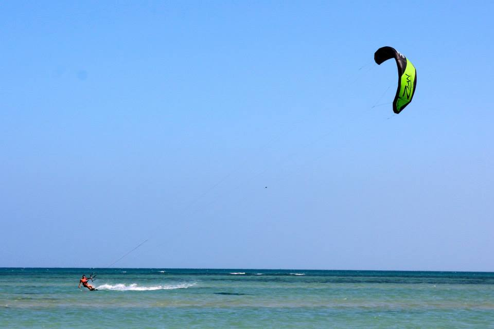 Kitesurfing or Kiteboarding in the clear blue waters of India. An amazing location to learn kiteboarding with professional instructors.