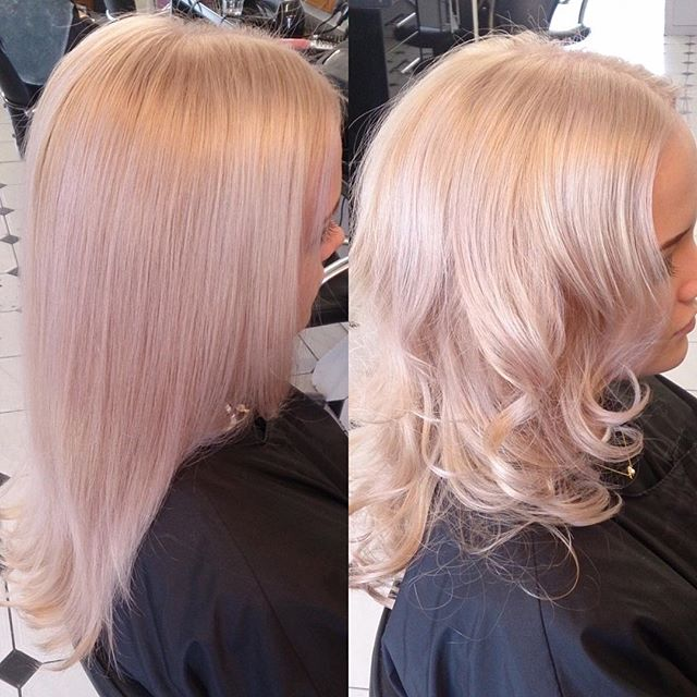 Lovely soft blond with touch of pink. Done by Zana @trimmershairdressers #touchofpink #softblonde