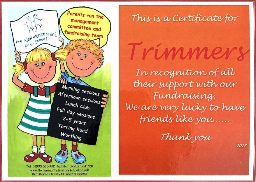 The New Montessori Pre-School Donation Thank you