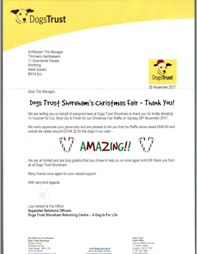 Dogs Trust Trimmers Donation Thank you