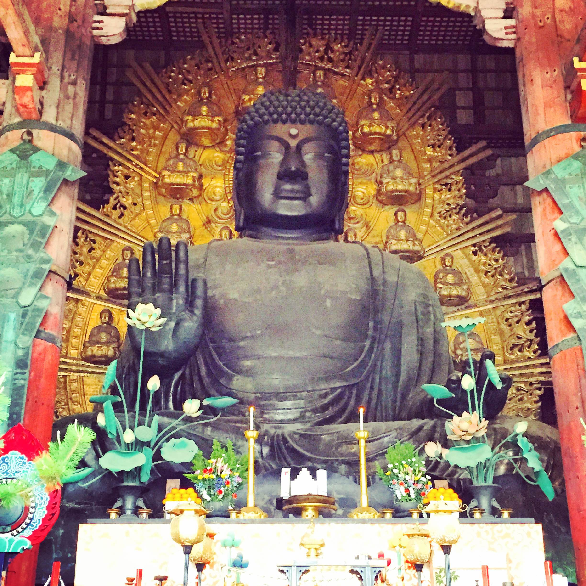 The world's largest bronze statue of Buddha (known in Japanese as Daibutsu), located inside Todaiji Temple.