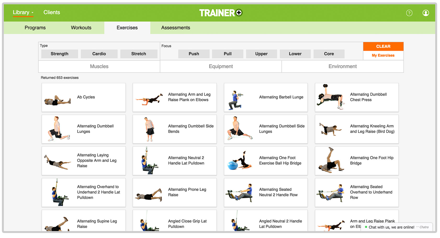 trainer plus exercise library software for gyms and personal trainers client tracking