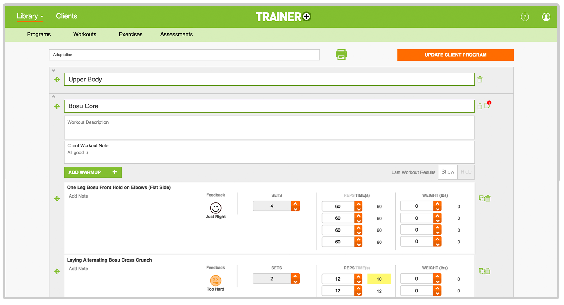 trainer plus edit client fitness program software for gyms and trainers