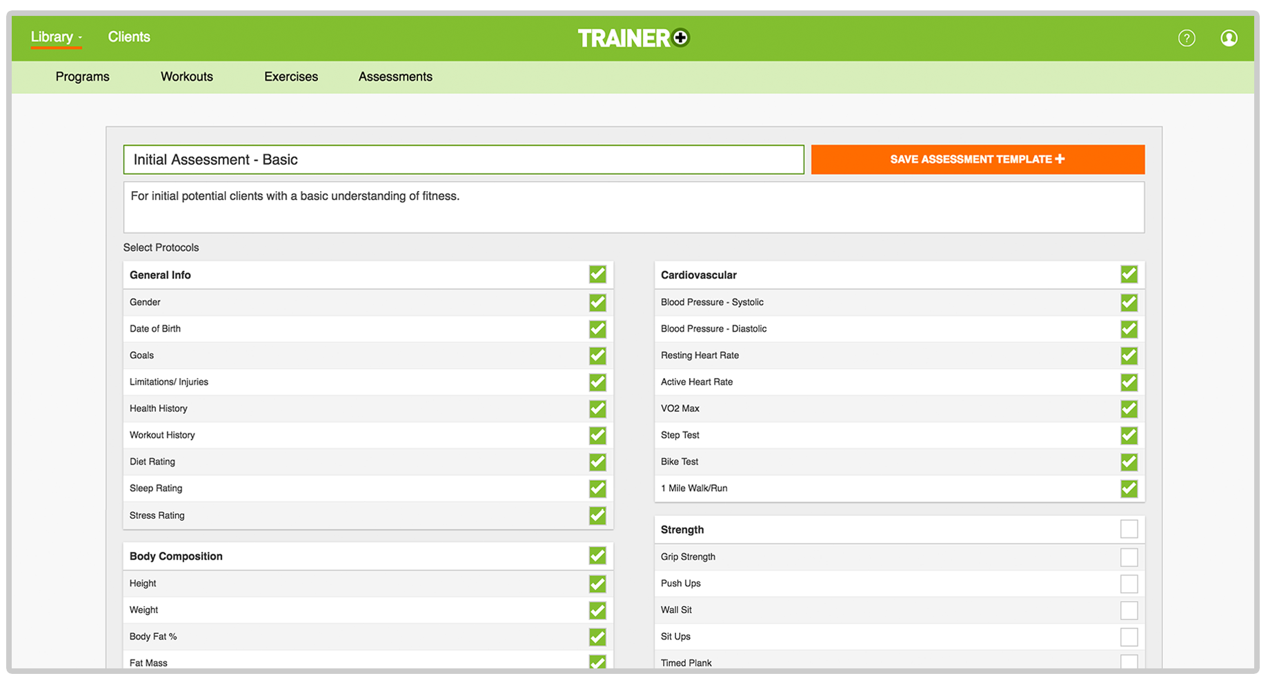 trainer plus software for gyms and trainers client assessment tracker