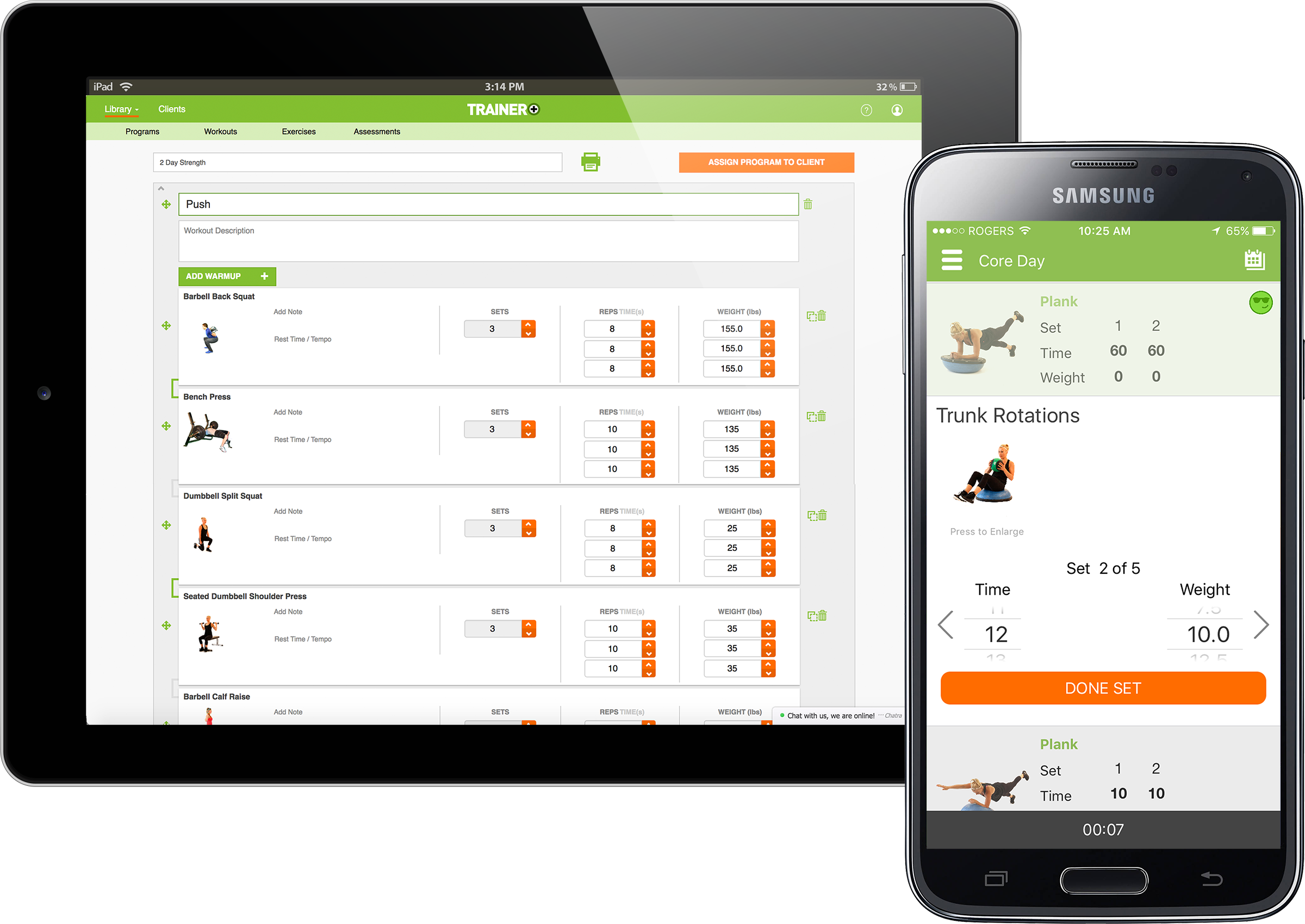 Trainer+ web and mobile apps