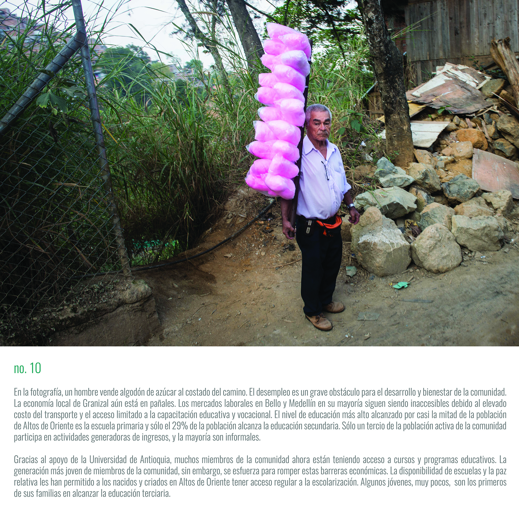 A man sells cotton candy on the roadside. Unemployment is a severe impediment to the community's development and well-being. Job markets in Bello and Medellin remain mostly inaccessible due to high transportation costs and limited access to education and vocational training.
