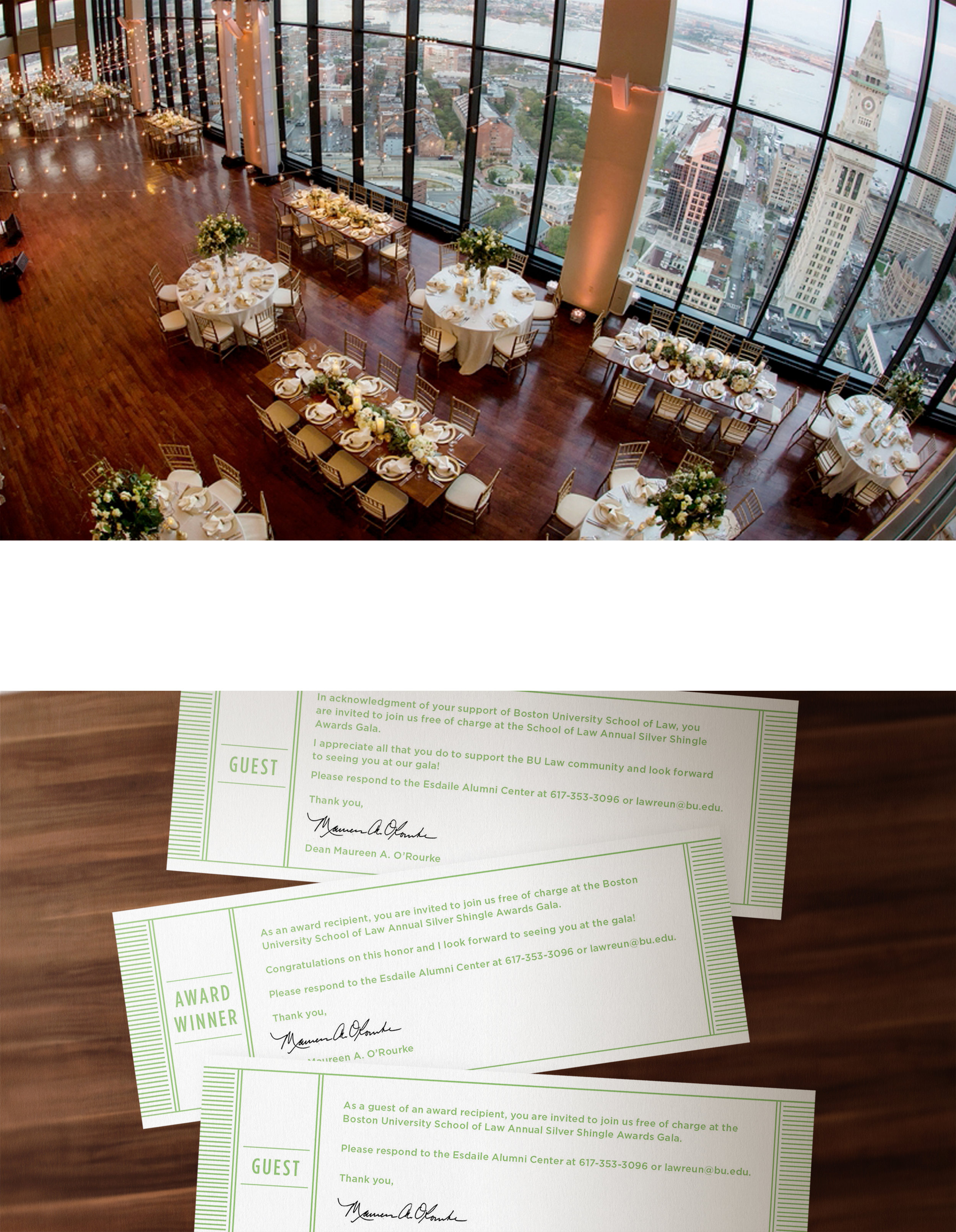 Kate Cunningham Design // BU LAW SIlver Shingle Gala // Collateral // Tickets