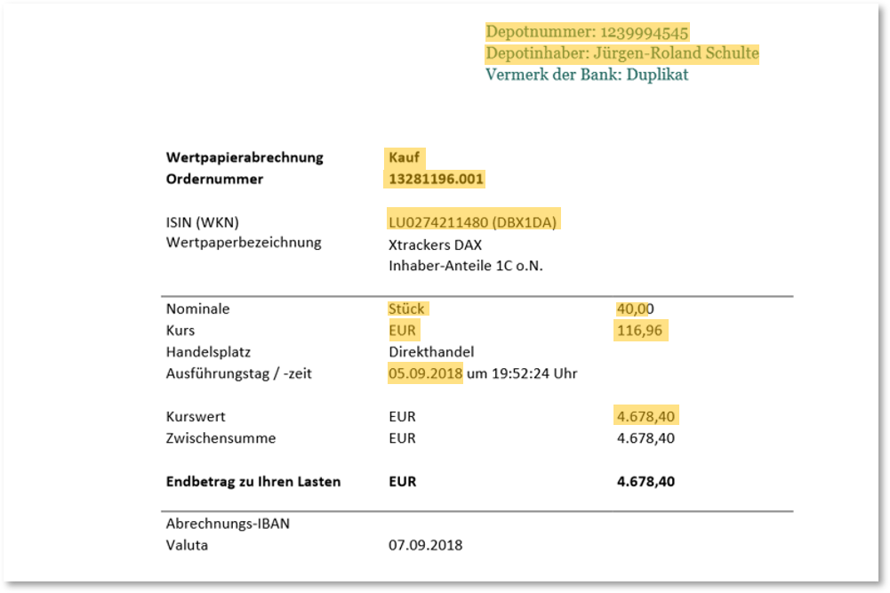 Abbildung 3 : Beispiel eines vom Algorithmus durchsuchten Scanfiles: DIe relevanten Informationen in den identifizierten Bereichen werden erkannt und extrahiert. Quelle: Finbridge GmbH & Co. KG