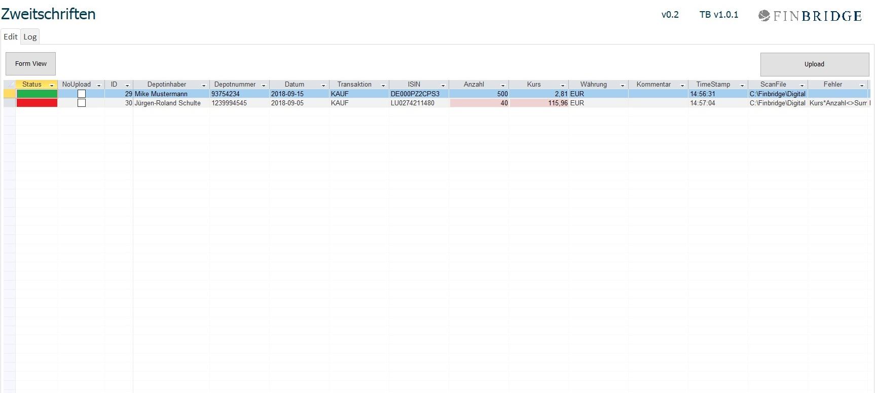 """Abbildung 4:  Die ausgelesenen Datensätze werden im Zwischenspeicher abgelegt und einer Plausi-Prüfung unterzogen. Im Front-End werden die Datensätze mit entsprechender Markierung angezeigt: """"grüne"""" Datensätze wurden vollständig erkannt, """"rote"""" Datensätze müssen manuell nachbearbeitet werden."""