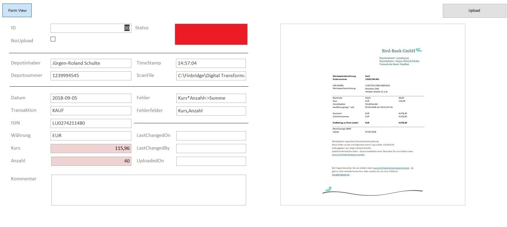 Abbildung 5:  Front-End zur manuellen Bearbeitung der Datensätze, die nicht vollständig via Algorithmus ausgelesen werden konnten. Quelle: Finbridge GmbH & Co. KG