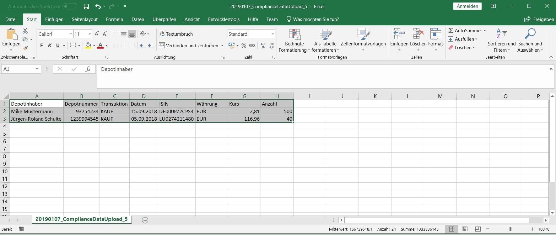 Abbildung 6:  Export der relevanten Daten im gewünschten Dateiformat (z.B. Excel, csv) und Layout zwecks Transfer, Weiterverarbeitung und/oder Archivierung in Bestandssystemen. Quelle: Finbridge GmbH & Co. KG