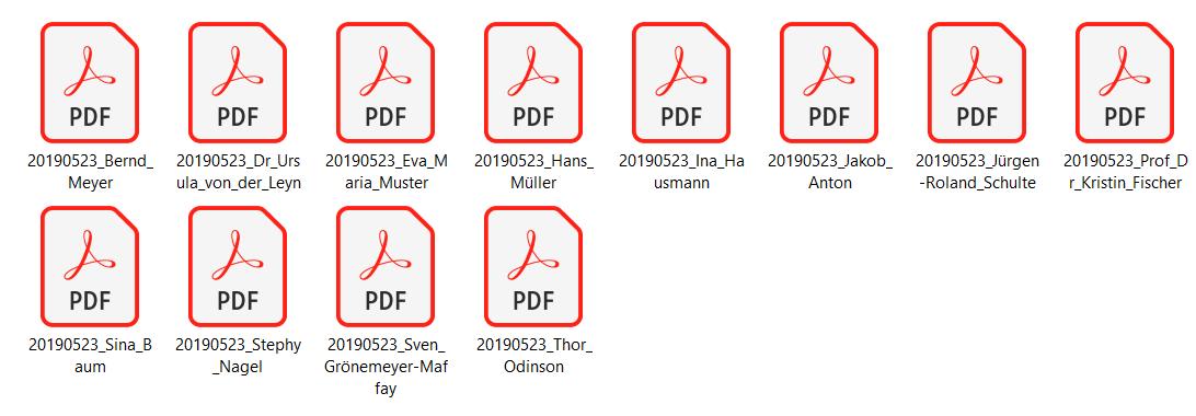 Abbildung 7:  Ablage und Archivierung der verarbeiteten, mit sprechenden Bezeichnungen versehenen Scandateien. Quelle: Finbridge GmbH & Co KG.