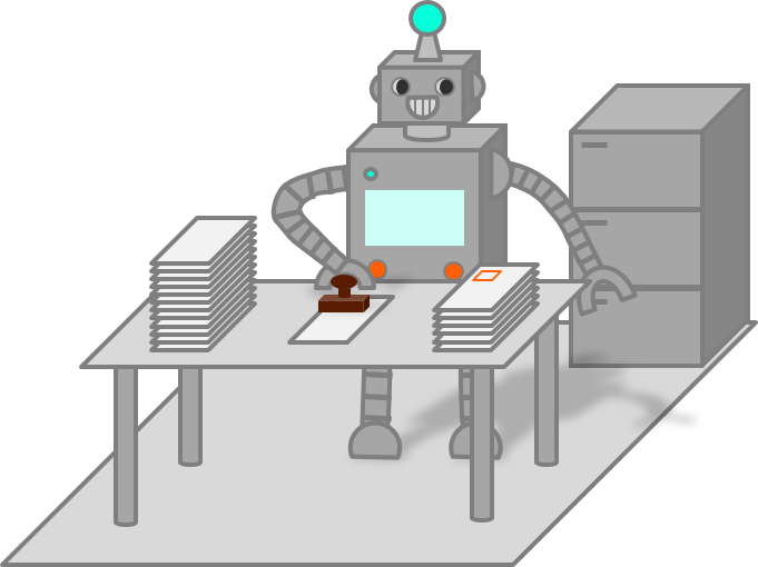Robot Stamp Paper Pile