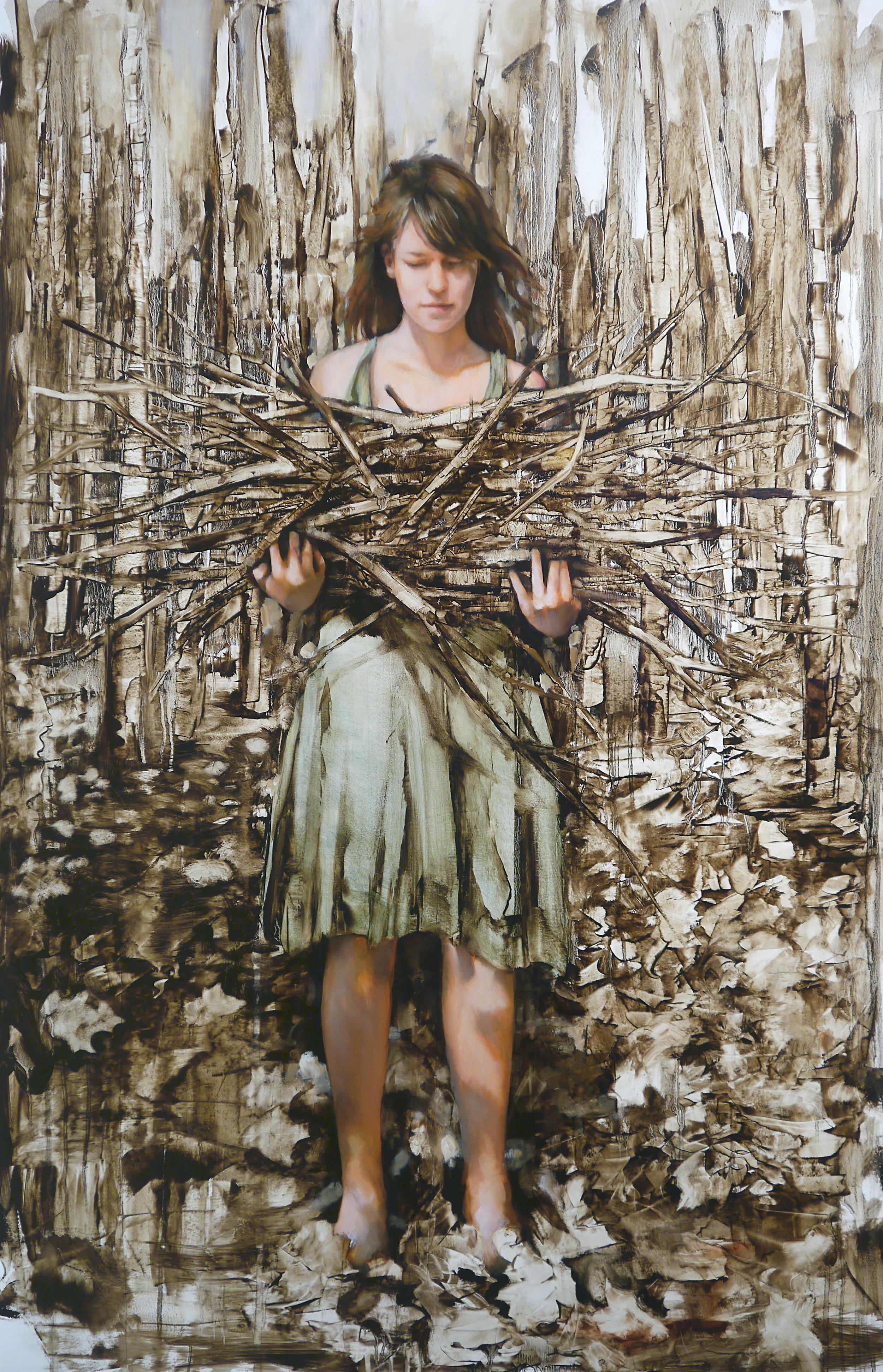 """Stick Gatherer, Oil on paper, 44"""" x 30"""""""