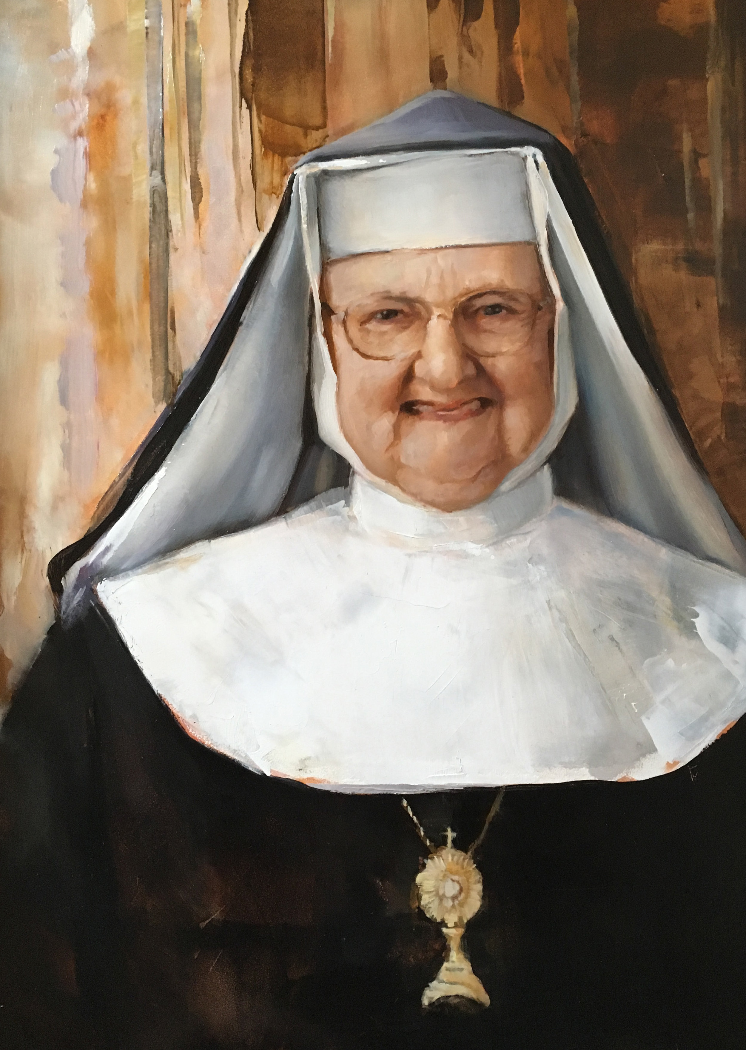 """Sister Angelica, 12"""" x 16"""""""", Oil on Panel"""