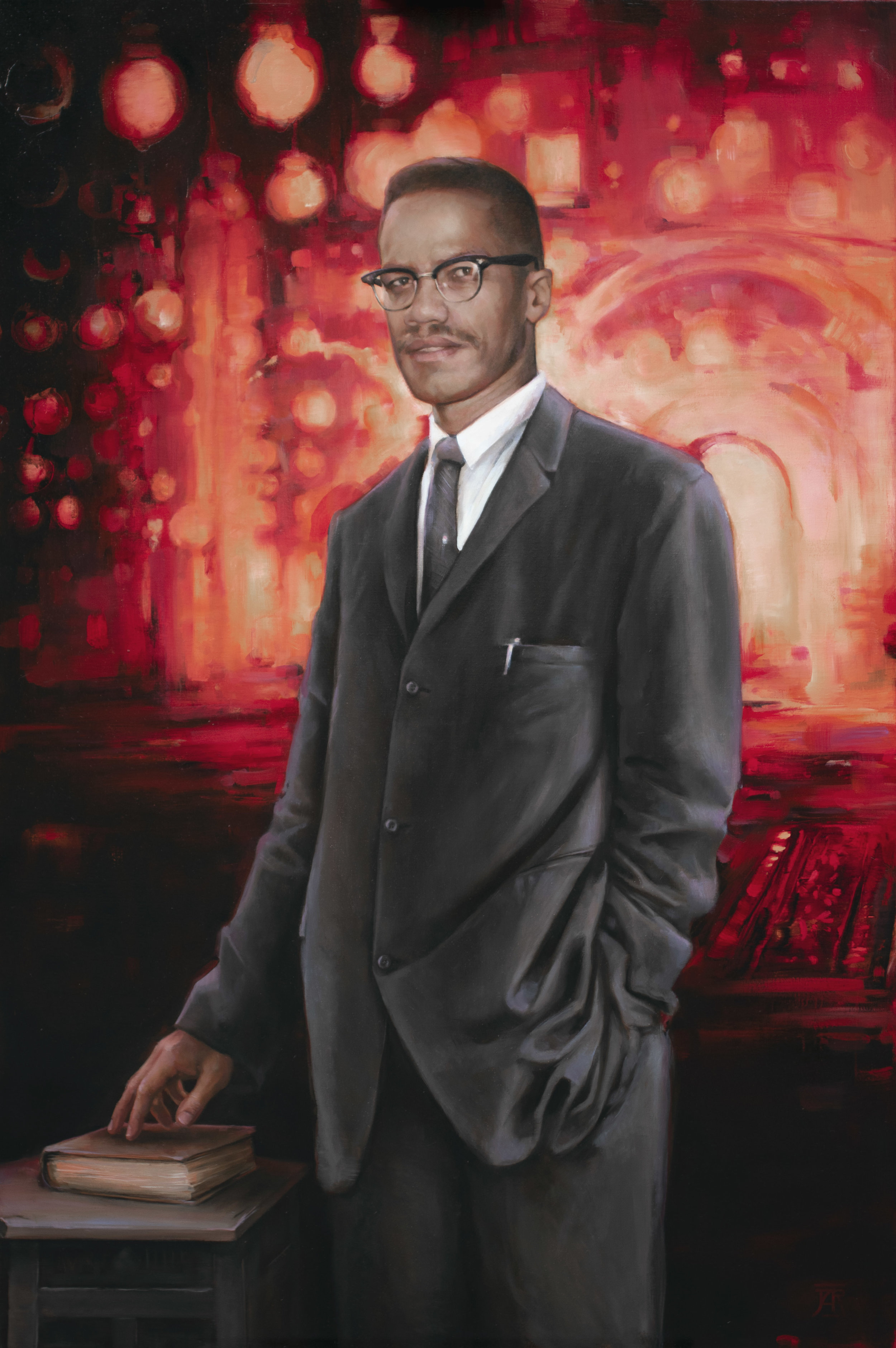 "Malcolm X, Oil on Linen, 40""x 60"", 2018"