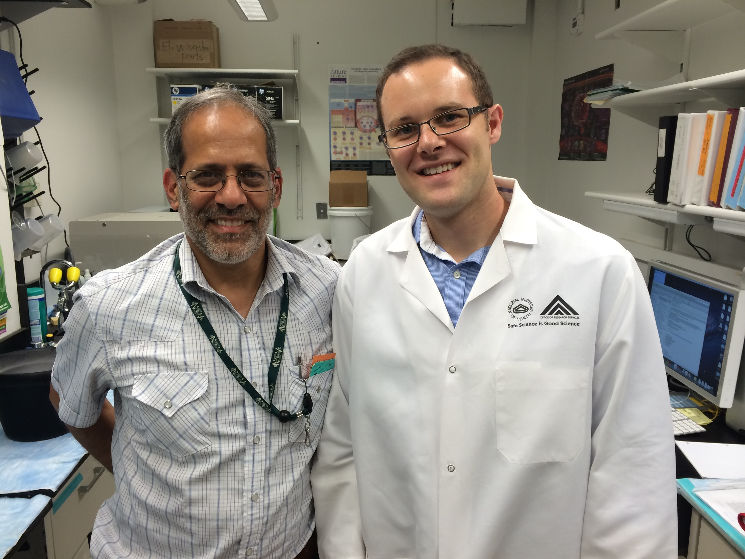 Graduate student Stephen Johnson (right) with our collaborator  Siddhartha Mahanty (NIH) at the National Institutes of Health, Bethesda, MD