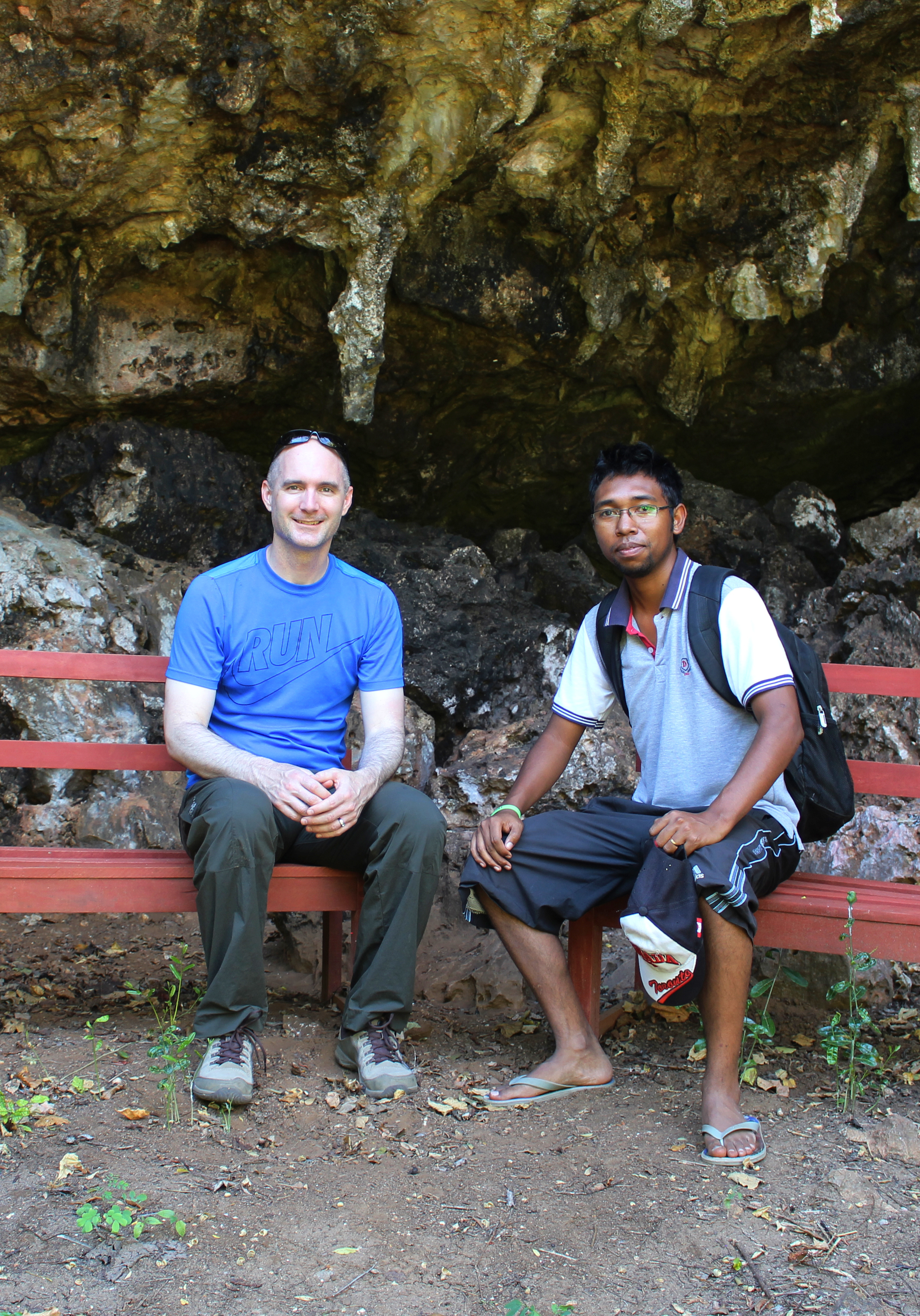 Dr. Perry and graduate student Rindra Rakotoarivony near the Anja rock shelter in northern Madagascar, the archaeological site with the earliest reported evidence of humans on the island.