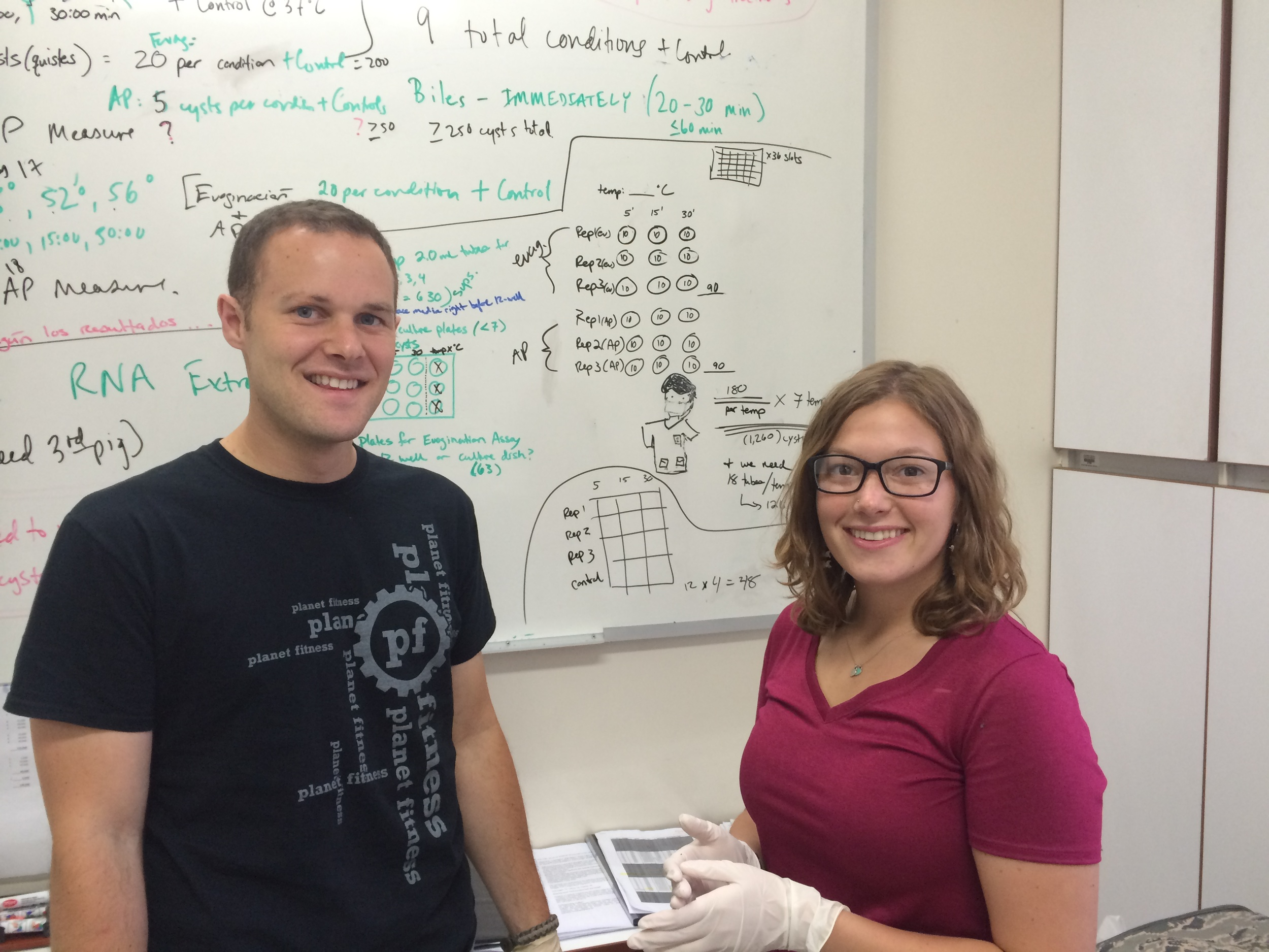 Graduate student Stephen Johnson and undergraduate Abby Koenig, here in Peru planning out their tapeworm functional genomics experiments.