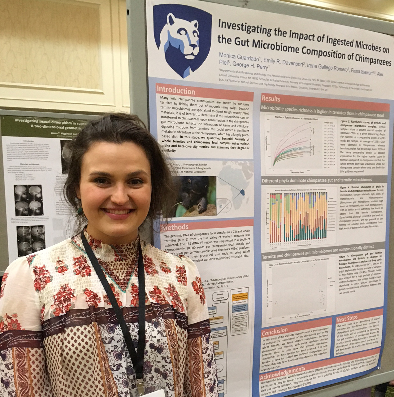 Undergraduate student Monica Guardado presenting her poster at the 2017 AAPA meeting in New Orleans.