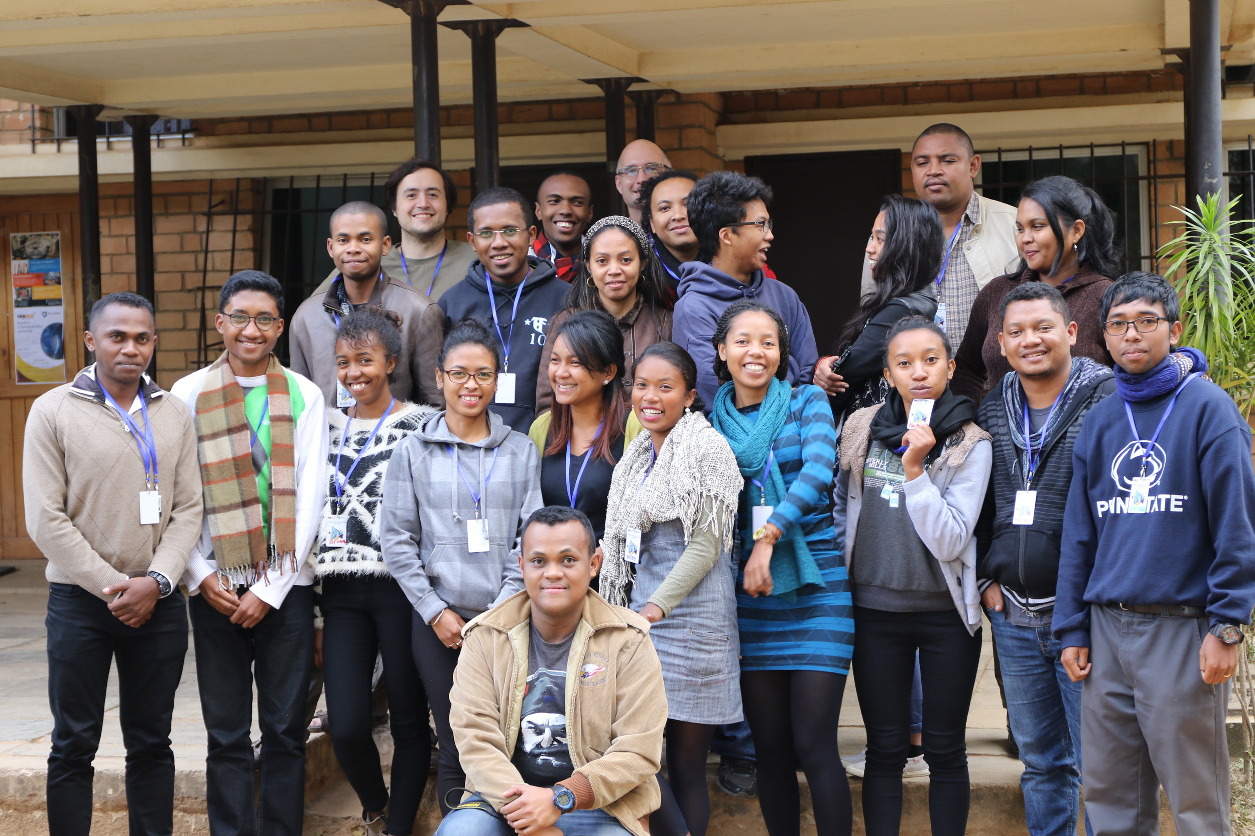 The inspiring group of participants from our inaugural Genetics and Bioinformatics Workshop in Antananarivo, Madagascar, June 2017. Instructors (all members of our lab) were Heritiana Randrianatoandro (far left) Rindra Rakotoarivony (far right), and Richard Bankoff and Dr. Perry (both in the very back row).