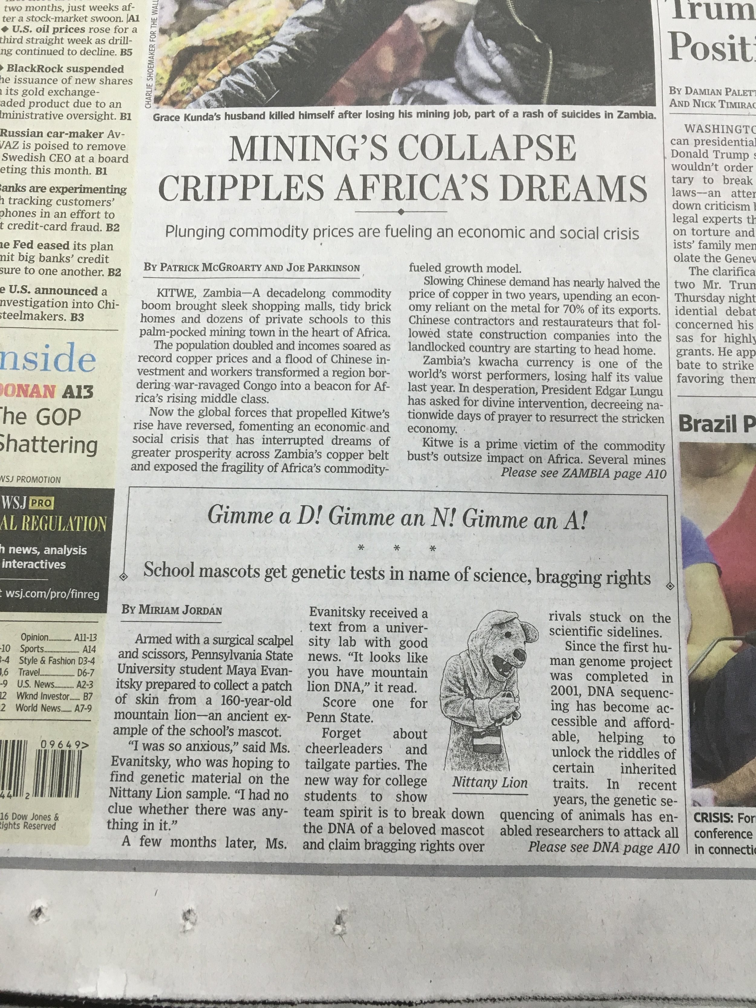 Front page story about the project in the Wall Street Journal!