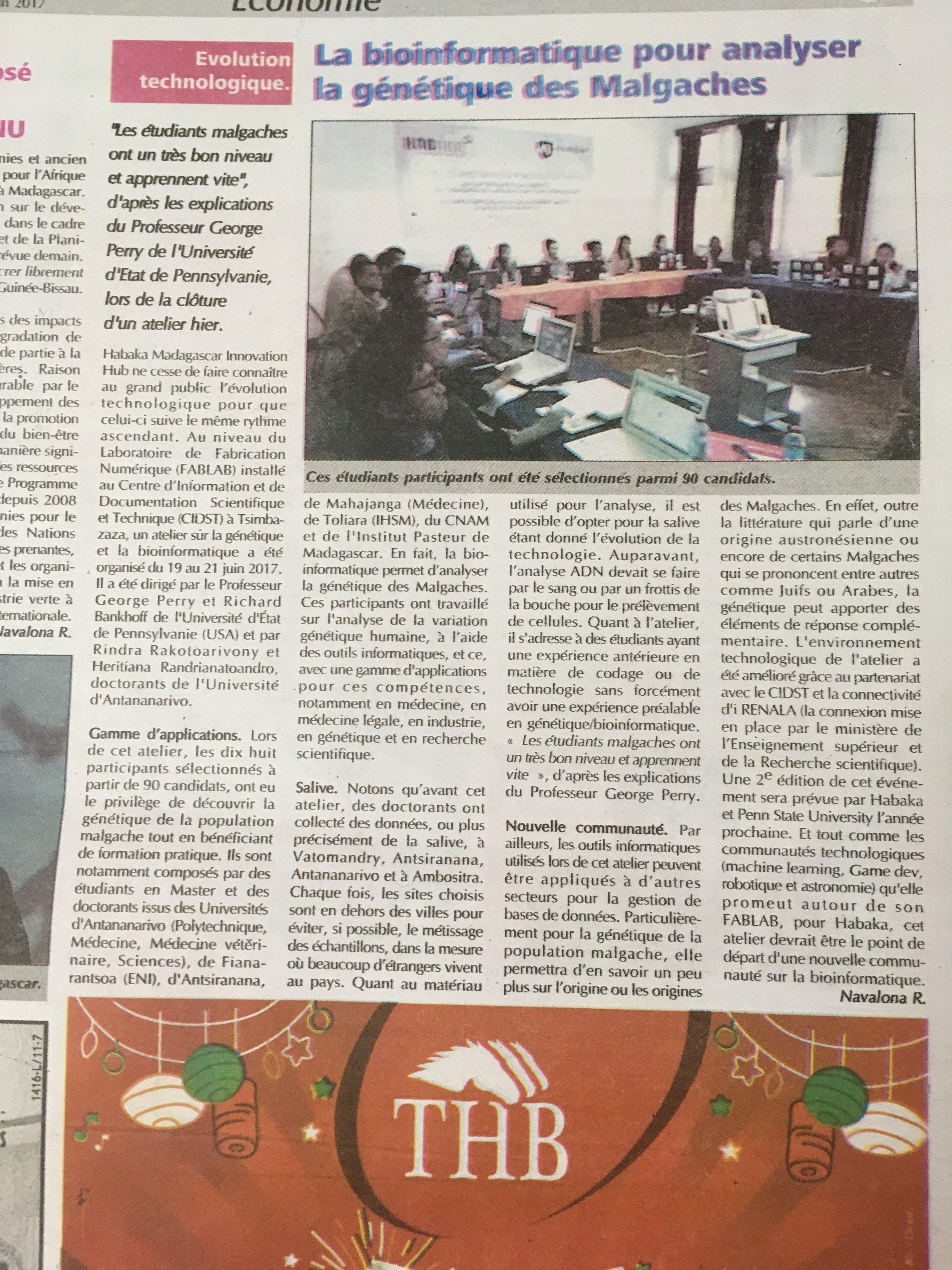 Newspaper story on bioinformatics workshop.JPG