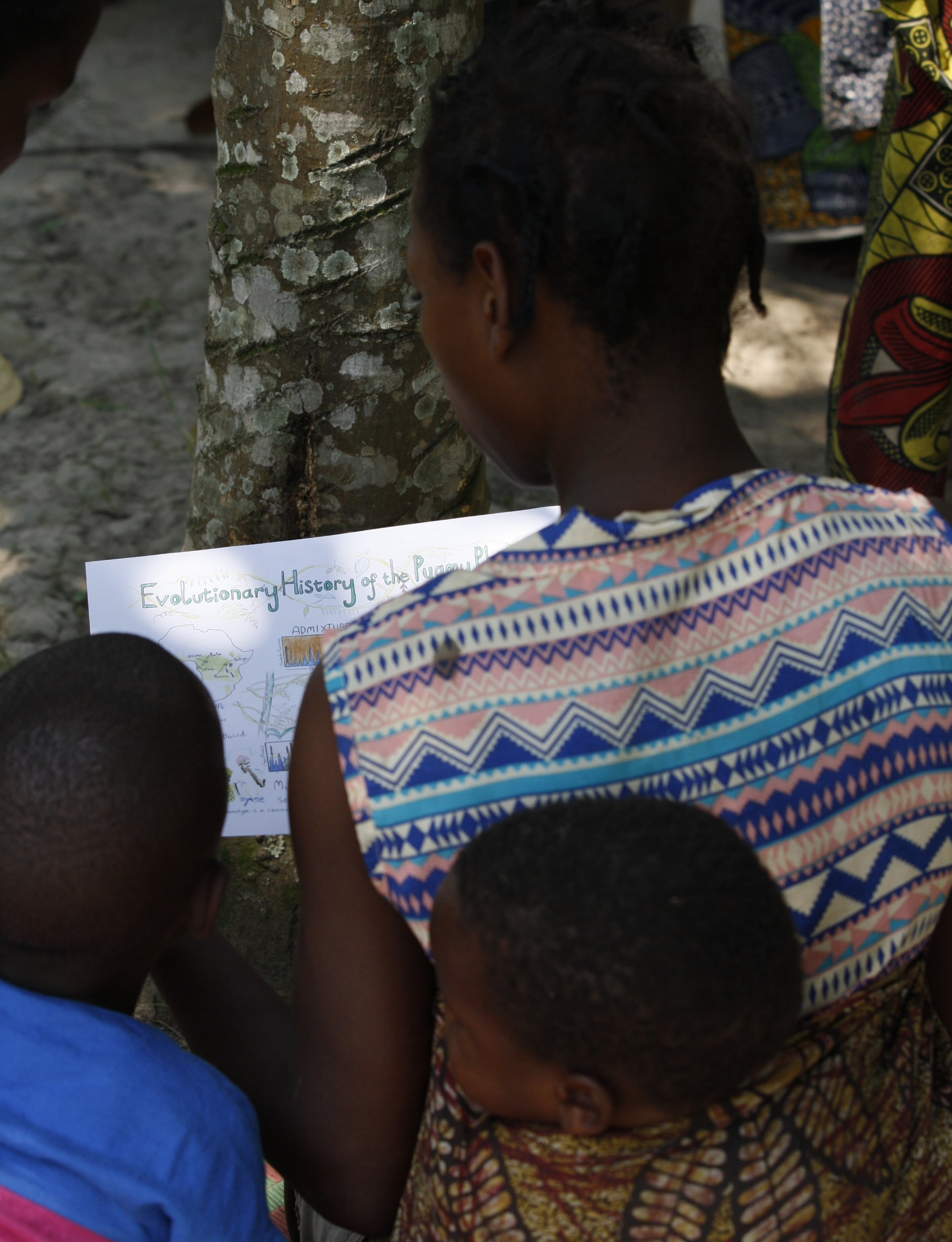 Batwa family learning about our research study results, Buhoma, Uganda